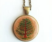 Tree Pendant Necklace, Hand Painted Wood, Original Miniature Painting, Woodland Jewelry, Green, Forest, Vintage Bronze, Customized