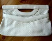 Sale - Vintage White Leather Woven Clutch / Purse