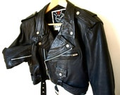 Vintage CONTEMPO CASUALS Motorcycle Cropped Leather Jacket Size M