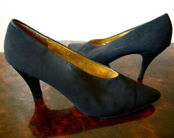 Sale - Vintage DONALD J. PLINER Spain Black Fabric and Leather Square Stiletto Pumps Size 9 M