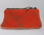 Simple Orange - Zippered Wool Handbag - Pouch, Purse, Clutch
