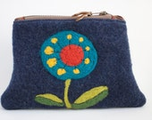 Cheerful Bliss - Wool Handbag with Needle Felted Flower - Zippered Pouch, Purse, Clutch