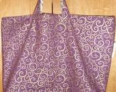 Reversible Purple Fabric Tote Bag