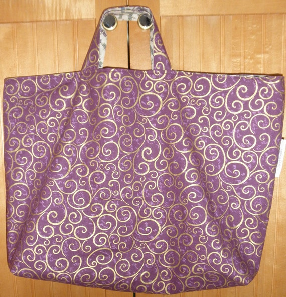 Reversible Purple Fabric Tote Bag