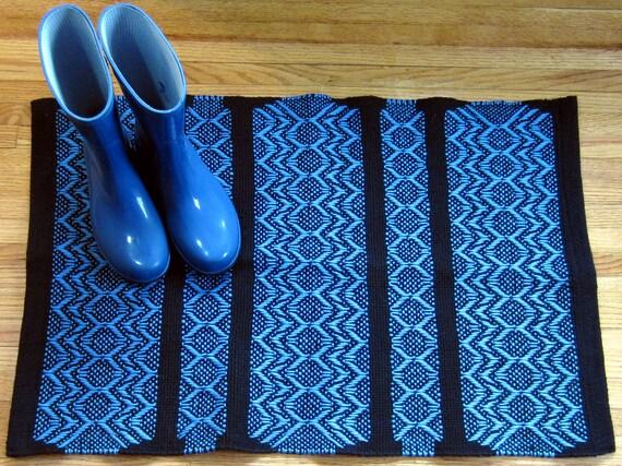 Handwoven Rug, Desert Rose, Blue on Black