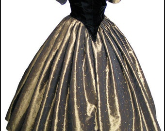 1800's Civil War Victorian Ball Gown Dress NEW Gorgeous Taffeta and Velvet