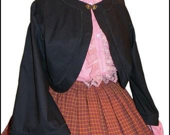 CUSTOM SIZE 1800's Civil War Victorian Black Zouave Jacket  New  100% cotton