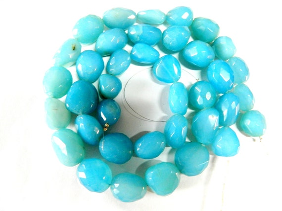 """Fine Quality Aqua-Blue Turquoise Chalcedony Faceted Tumbles Nuggets.14"""" Long Strand in a Size of 15 x 25 To 10 X20 mm Approx."""