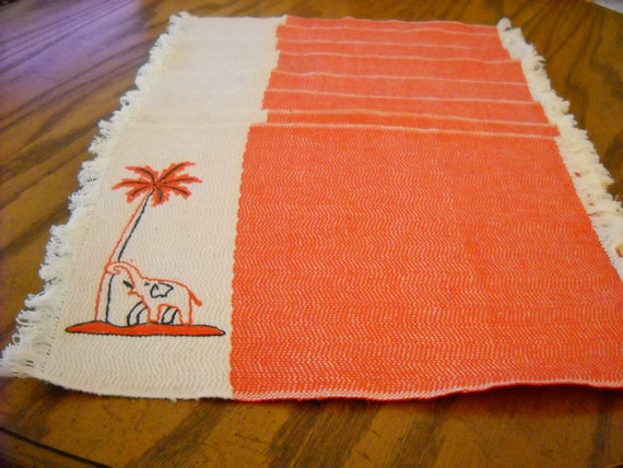 Reserved for Stephen - Price Reduction:  Placemats, Eight, Vintage, Handwoven, Elephant, Palm Tree, Tropical, Orange, Cream