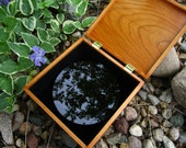 """Black Scrying Mirror, Handcrafted 6"""" Concave - with a Black Silk wrap"""
