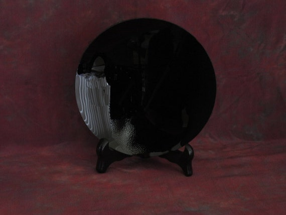 """Black Scrying Mirror, Handcrafted 4"""" Concave - with a Black Silk wrap"""