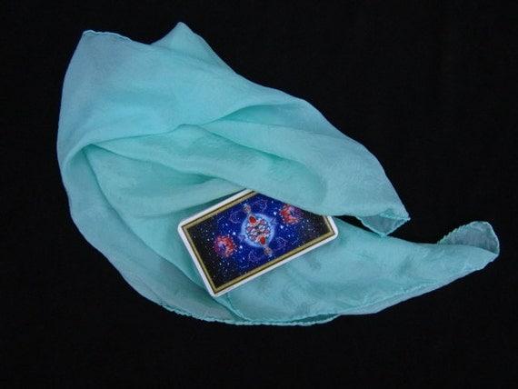 "Mist Green Silk Tarot Cloth - Hand Dyed 22""x22"" - 100% silk"
