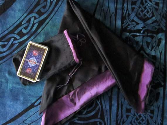 """Silk Tarot Cloth and Bag SET Reversible Black / Purple  - Hand Dyed and Stitched 26""""x26"""" Cloth...100% Silk"""