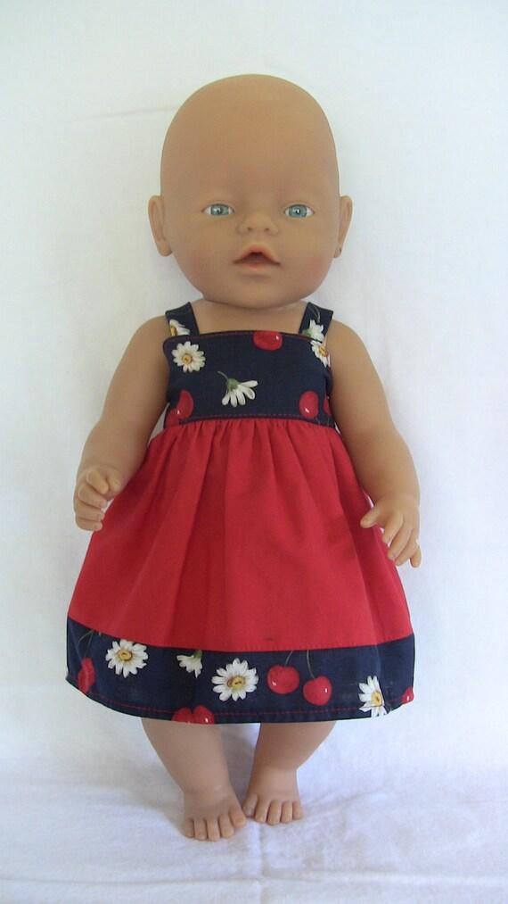 Baby Born doll - Handmade Red/Navy Cherry Sundress