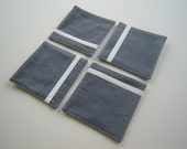 Decorative Blue and White Fabric Coasters, set of 4