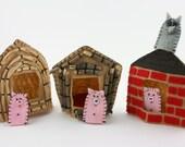 The Three Little Pigs Felt Finger Puppet Set