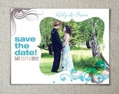 Save the date card // Photo wedding announcement // Modern type treatment // Custom colors and text.