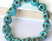 Day of the death, Turquoise skull bracelet