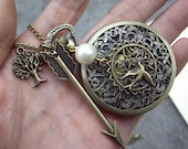 The Hunger Games Inspired Arrow,Mockingjay,tree and Peeta Pearl Victorian pattern golden dial Pocket Watch locket Necklace