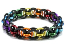 Black Rainbow Stretch Bracelet -  Moon Chain Chainmail Rubber Metal Crochet Bracelet