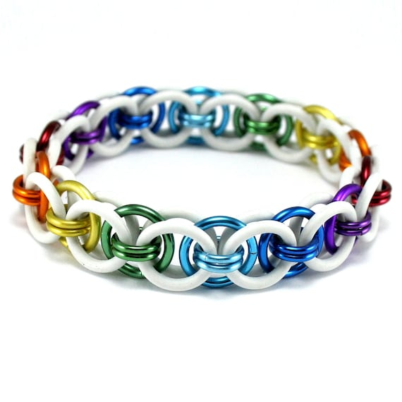 White Rainbow Stretch Bracelet - Moon Chain Chainmail Rubber Metal Stretchy Bracelet