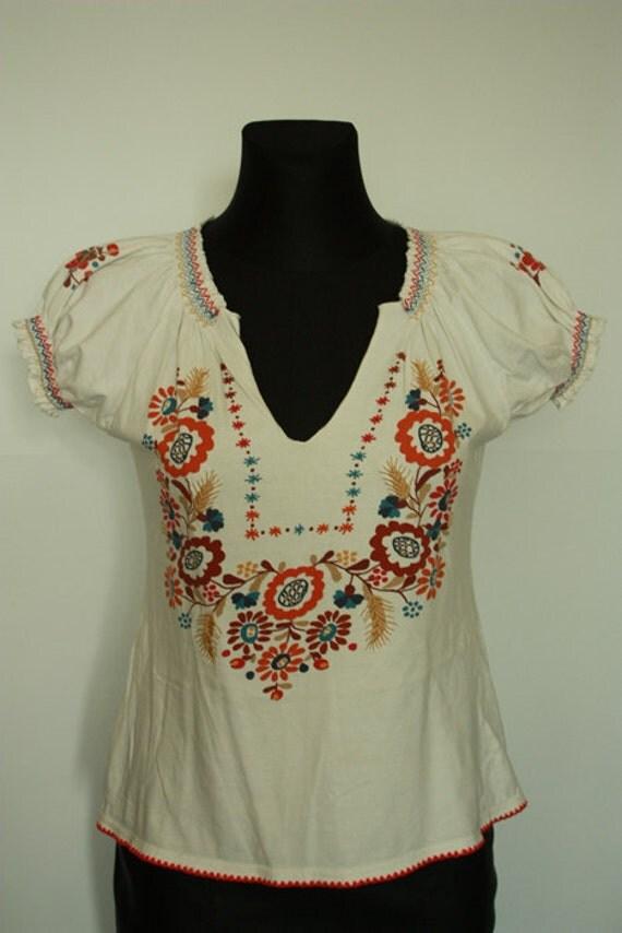Vintage Hippie Blouse size S/ M , Boho Ethnic, Folk