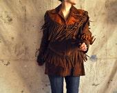 SALE 70s hippie fringe suede leather jacket, brown and orange leather, fantastic coat, vintage, retro
