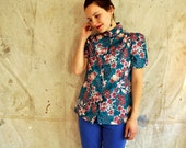 teal and rose floral blouse, short sleeves, asian inspired, tropical, vintage