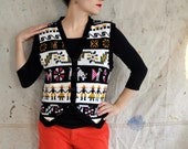 sweater vest, black and whtie south american inspired, ethnic, tribal, retro, size s m l