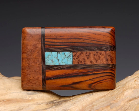 Hand Made Exotic Wood and Turquoise Inlaid Belt Buckle
