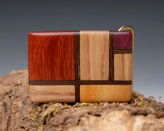 Exotic Wood Inlaid Belt Buckle - Mondrian Style