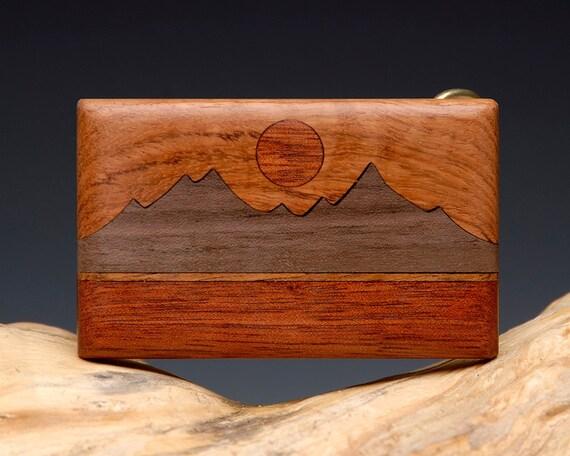 Exotic Wood Inlaid Belt Buckle - Handmade - Mountain Landscape