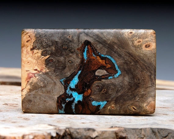 Exotic Wood & Turquoise Inlaid Belt Buckle - Handmade