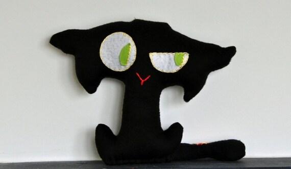 SALE - Black Cat - Felix, pillow, children eco toy, decor, art, soft