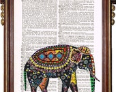 INDIAN ART ELEPHANT Colorful Upcycled Art Print Illustration Upcycled Book Page Antique Vintage Book Print