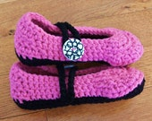 Adult/Teen Crochet Slippers, Pink and Black, Black and White Button