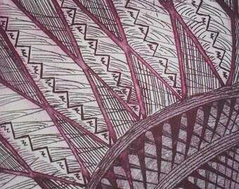 Original Artwork Burgundy Red Etching Print in clip frame