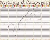 Dots Birthdays and Anniversaries Page