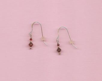 Red Swarovski Crystal Sterling Earrings