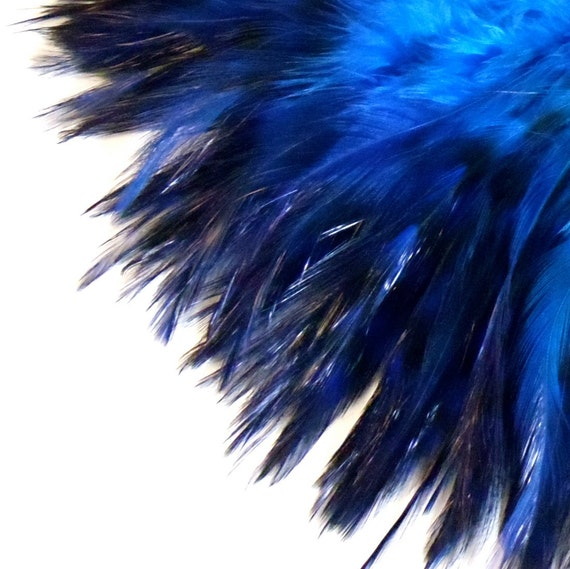 Bright Blue Feathers / Dyed Chinchilla Rooster Saddle / 3 - 4 inch Feather Length / (2) One Inch Pre-strung Strips
