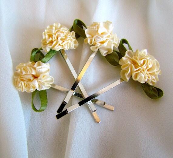 Flower Girl Silk Rose Bobby Pins