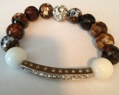 White & Brown Agate Crystal Bar Bracelet With Paver Accent