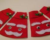 SHIPS UNTIL 12-14-15 Set of four Christmas Santa napkin sleeves. Handmade by Savannah Granny