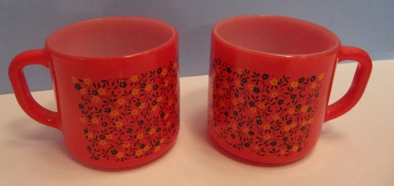 Two  Vintage Federal Glass Company Red, Black And Yellow mugs