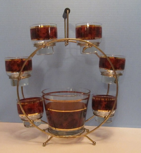 HOLIDAY ENTERTAINING - Culver Style  Bar Set - Stand, Ice Bucket and Six Old Fashioneds