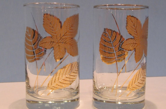 Two Ornately Decorated High Ball Glasses With Gold Metallic Botanical Design