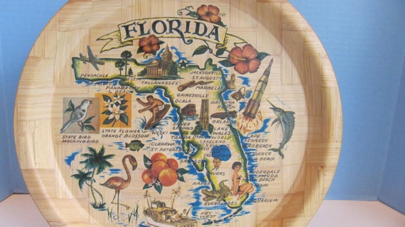 Delightful Vintage Handwoven Bamboo Florida Souvenir Serving Tray with Retro Illustrations and Maps