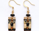 Paper Collage, Small, Rectanguler, Black, Tan, Brown and Gold, Beaded, Wire-Wrapped Earring