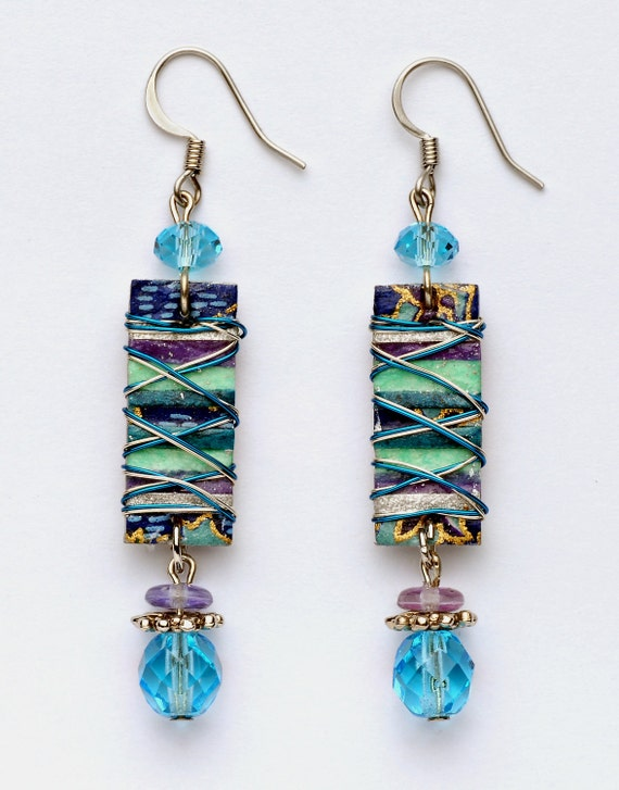 Paper Collage, Long Rectangular, Blue, Purple, Turquose, Teal and Silver, Wire-Wrapped Earring with Faceted Dangle