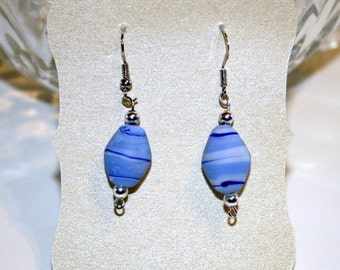 Blue Swirl Dangle Earrings.